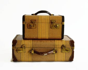 vintage striped suitcase stack train case 1930s 1940s brown luggage prop