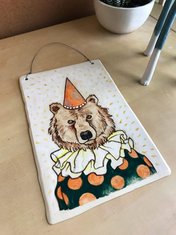 clown bear - ceramic art - brown bear art - wall hanging