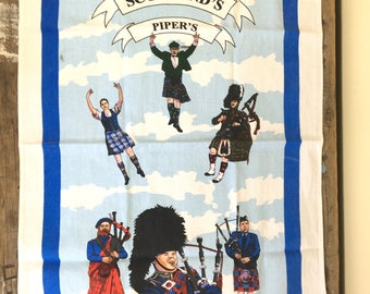 Tea towel, Scottish Pipers, Crisp and new