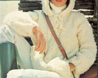 Vintage 1970s Knitted Hooded Eskimo Jacket, Sweater Coat, Knitting PDF Pattern, Knitting Instant Download