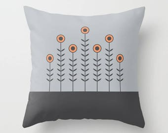 5 colours, SPRING SHOOTS Minimalist Flowers Pillow, Gray, Charcoal black, Peach Rose, Nordic, Faux Down Insert, Indoor or Outdoor cover