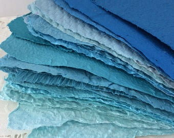Handmade paper - Shades of Blue - Homemade Paper - Pick the Amount - acid free - recycled paper - textured paper - Paper for collage