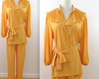 SALE Romantic Warm Gold Pant Suit - Vintage 1970s 2 Piece Outfit in Medium Large by Mahogany