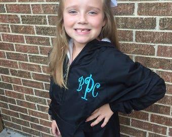 Kid's Monogram 1/2 Zip Pullover Rain Jacket by Charles River Apparel, KIds Rain Jacket, Kids Windbreaker Jacket, Team Jackets