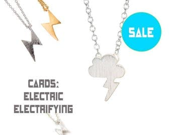 70% OFF SALE Lightning Bolt Necklace, silver, charm jewelry, lightning cloud, Electric, Teen gift, As Seen in Seventeen magazine