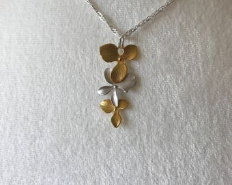 Gold and Silver Orchid Necklace