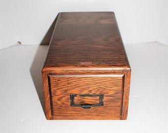 Vintage Weis Oak Card File Cabinet Single Drawer