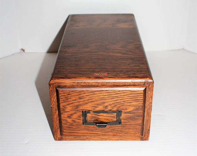 Vintage Weis Oak Card File Cabinet Single Drawer