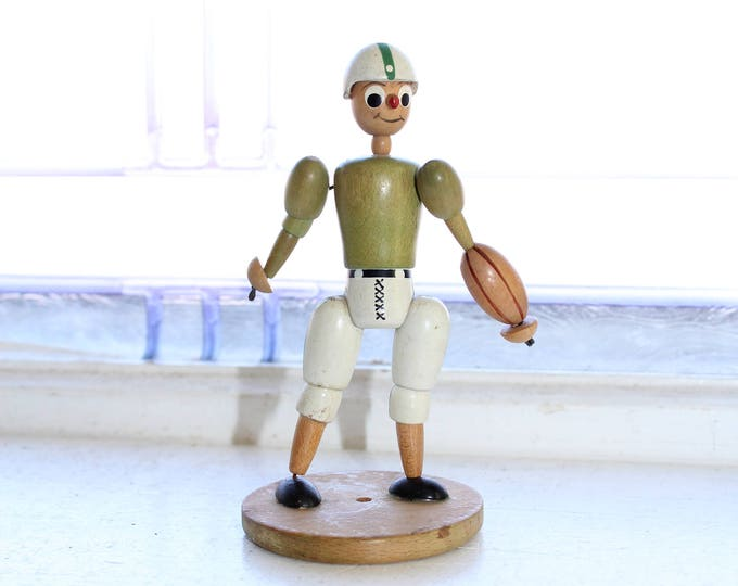 Vintage 1950s Wood Football Player Figurine