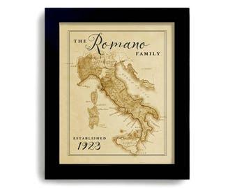 Italy Map, Italian Gift Italian Heritage Italian Family Name Old Map Establish Date Personalized Family Name Italian Tradition Map of Italy