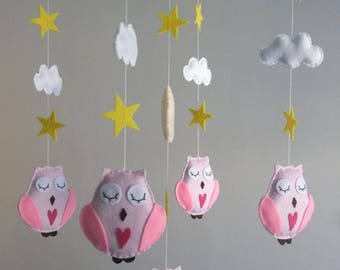 Baby Mobile - Owls, moon, clouds and stars