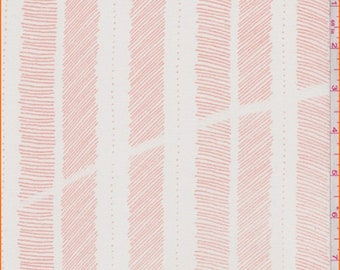 White/Sea Coral Sketch Stripe Chiffon, Fabric By The Yard