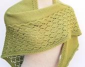 Hand Knit Wool Shawl. Asymmetric Shawl. Green Wool Shawl. Lace Shawl.