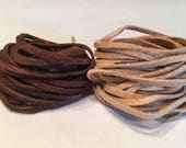 Soft Suede Faux Leather Lace Cord in Sand or Cafe (9.6 ft - 9.8 ft)