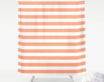 Coral shower curtain Etsy