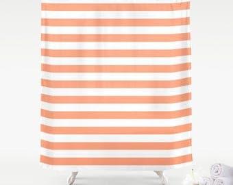 premium smooth fabric shower curtain big coral peach white cabana beach stripes neutral minimalist