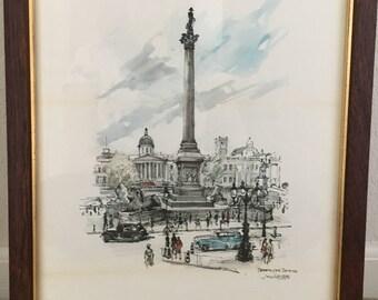 Art, Vintage Art, Pen and Ink, Print, Vintage Framed Art, Vintage Print,  Wall Art, Jan korthals