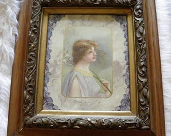 Large Sensual, Soothing Antique Victorian Picture, Beautiful Lady and Lilacs, Ornate Gold Gilt Frame