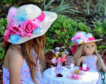 """Easter Bonnet - Child Easter Hat - Adult Easter Hat - Matching Girl Doll Hat - Girl and Doll Clothes - 18"""" Doll Clothes - Spring Hat"""