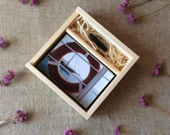 "10 x wooden photo box / 4"" x 6"" prints box / 10 x 15 cm prints box / box for photos and usb flash drive / wedding photo box"