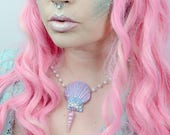 Pink and blue mermaid shell necklace - one of a kind