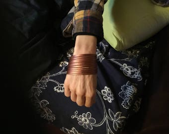 Handmade copper faux leather cuff