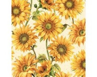 Large Packed Sunflowers Cream Follow the Sun Wilmington Prints By the Yard 86429-157