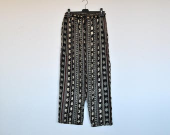 Vintage Oversized Elephants Print Casual Goucho Loose Fit Palazzo Pants