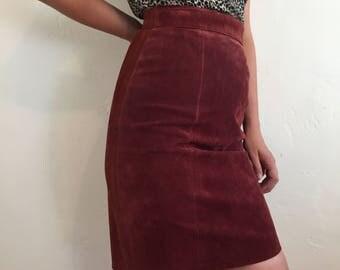 Rust Suede Pencil Skirt Waist 27