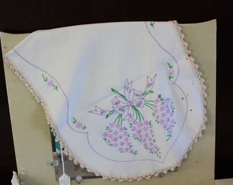 Vintage Dresser Scarf - Hand Embroidered Lilacs and Ribbons