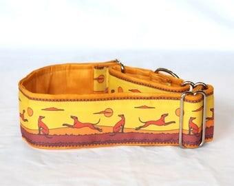 "2"" Martingale Dog Collar Greyhounds Playing - Rust & Gold"