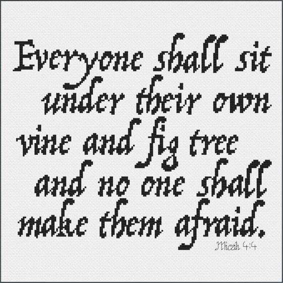 Quote Modznrockers Blackpool Quote Script Tree: Micah 4:4 Bible Verse Cross Stitch Pattern Vine And Fig