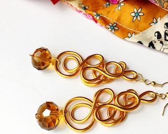Orange Statement Earrings Amber Date Night Jewelry