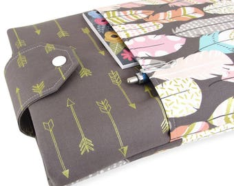 Book Sleeve Feather Arrow - Front Pocket, Two Sizes: Paperback & Hardback - Makes A Great Book Cover For Yourself Or Book Lover Gift!