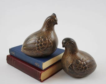 Vintage Ceramic Quail Figurines - Large Brown Quail Family Figurine Set