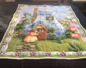 Teapot Cottage w Mouse Visitor Kids Quilt or Adult Lap Quilt or Wall Decor