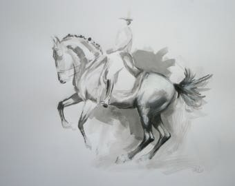 Original horse art equine art energy and movement equine horse mixed media sketch movement art drawing 'Sketch IV' by H Irvine