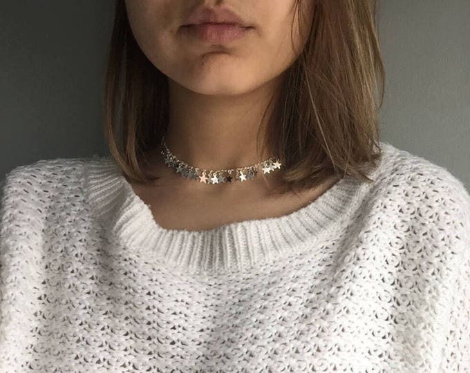 Silver jewelry, dainty choker, Boho Choker, choker Necklace, Silver Necklace, Star Necklace, chic choker, unique choker, necklace choker