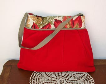 Shocking Red PURSE / SHOULDER BAG Pleated Velour Gray / green Khaki Tote Medium Size Fall Leaves
