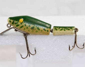 Vintage Fishing Lure - L & S Bait Company Bass-Master Model 15 - Green White Plastic Lure - Vintage 1940s