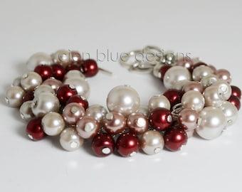 Gray, Pink & Wine Cluster Bracelet, Light Gray Pearl Bracelet, Gray Chunky Bracelet, Gray Pearl Bracelet, Pink, Rose and Wine Pearl Bracelet