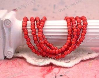 Dark Rose White Hearts, Antique Venetian White Hearts, Vintage Venetian White Hearts, 8/0 Vintage Seed Beads, African Trade Beads VB-003