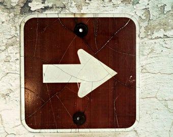 vintage directional arrow road sign, industrial decor, man cave decor, vintage street sign,  graphic sign, transportation sign, retired sign