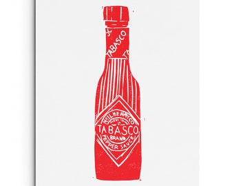 Tabasco with Stripes - Kitchen Art - Illustration - Digitally Printed Wall Decor - Giclee Print - Black or Red
