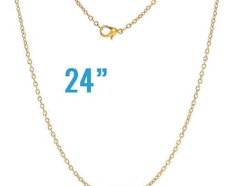 """24 Gold Necklaces - WHOLESALE - Cable Chains - 24"""" Long - Ships IMMEDIATELY from California - CH536b"""