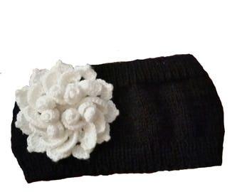 Knitted Winter Ear Warmer Headband with white flower, Black Winter Headband, Black Hairwrap with 3D Flower