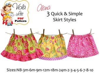 Alana Quick, Simple Girl's Skirt Pattern. Toddler pdf Sewing Pattern. 3 Skirt Styles. Toddler Skirt Pattern. Infant pdf Skirt Pattern.