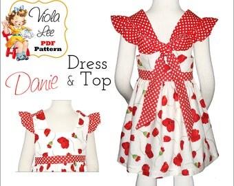Danie Girls Top Pattern. Toddler Dress Pattern, Girls Summer Dresses. Toddler Dress Sewing Patterns. Girls Dress Pattern pdf Sewing Pattern