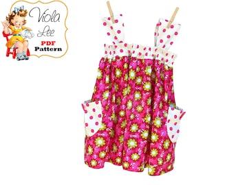 Girls Dresses, Girls Sewing Pattern. Girls Dress Pattern. Girls pdf Top Pattern, Toddler Summer Dress Pattern, Toddler Sewing Pattern. Mindy