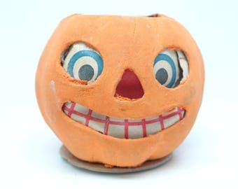 1940's German Jack O Lantern, Antique Pressed Cardboard